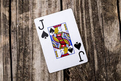 Jack of Spades Card on Wood Royalty Free Stock Images
