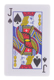 Jack of spades playing cards isolated on white. Background Royalty Free Stock Image