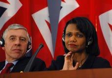 Jack Straw, Condoleezza Rice stock image