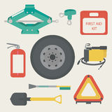 A Jack, tow rope, first aid kit, fire extinguisher. Spare wheel, shovel, brush and scraper, warning triangle, car air compressor. Vector illustration Royalty Free Stock Photos