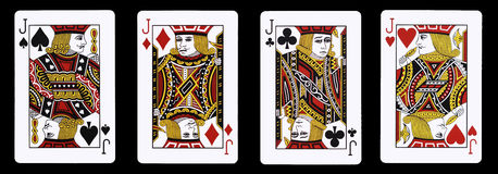 4 Jack in una fila - carte da gioco Fotografie Stock