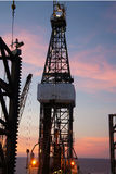 Jack Up Drilling Rig (Oil Rig) at Twilight Time Royalty Free Stock Image
