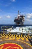 Jack Up Drilling Rig Over costero la plataforma de la producción foto de archivo libre de regalías