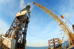 Jack Up Offshore Oil Drilling Rig - Fish Eye Angle Perspectiv Stock Images