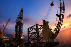 Jack Up Offshore Oil Drilling Rig with Fish Eye Angle Stock Photo