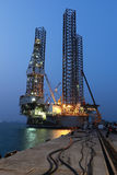 Jack up oil drilling rig Stock Photography