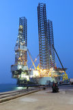 Jack up oil drilling rig Royalty Free Stock Images