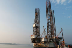 Jack up oil drilling rig Royalty Free Stock Image