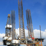 Jack up oil drilling rig in the shipyard Royalty Free Stock Photos