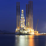 Jack up oil drilling rig in the shipyard Royalty Free Stock Images