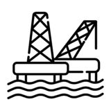 Jack Up Oil Rig a pouca distância do mar Mar Rig Platform do gás ilustração stock