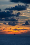 Jack up oil rig at twilight time Royalty Free Stock Photo