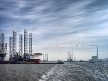 Jack up rig in Esbjerg oil harbor, Denmark Stock Image