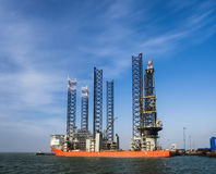 Jack up rig in Esbjerg oil harbor, Denmark Stock Photos