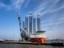 Jack up rig in Esbjerg oil harbor, Denmark Royalty Free Stock Photo
