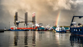 Jack up rig in Esbjerg oil harbor, Denmark Royalty Free Stock Images