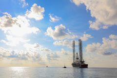 Jack up rig legs Transportation royalty free stock photos