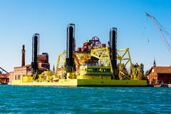 Jack-up vessel in Venice, Italy Stock Photos