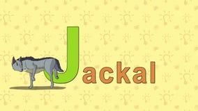 jackal Alfabeto inglés del PARQUE ZOOLÓGICO - letra J ilustración del vector