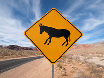 Jackass On The Loose. Caution, wild Jackass roaming the Nevada desert Stock Image