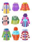 Jacken für Mädchen im flachen Design Lizenzfreie Stockfotos