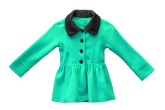 Jacket for female kid. In green color isolated Royalty Free Stock Photo