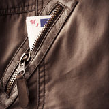 Jacket fragment with metal zipper Stock Photos