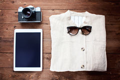 Jacket from linen fabric and technical devices Stock Images