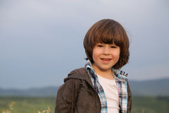Jacket Long hair boy Stock Photography