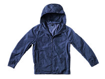 Jacket. Men's dark blue hooded windproof jacket isolated on white with natural shadows royalty free stock photography