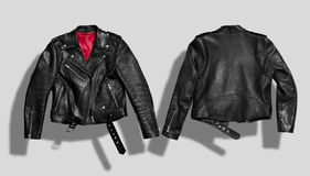 Jacket mockup set. Classic black leather bikers` jacket with silk red lining shot from the front and the back isolated on white royalty free stock photos