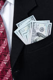 Jacket pocket with money Royalty Free Stock Image