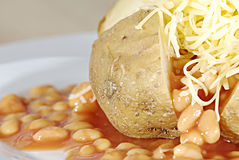 Jacket potato. With cheddar cheese and baked beans stock images