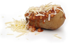 Jacket Potato. With Cheese and Baked Beans Stock Photography