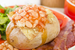Jacket Potato. Baked potato topped with cheese and baked beans served with salad and bacon Royalty Free Stock Photo