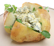 Jacket Potato with Blue Cheese and Watercress Stock Photo