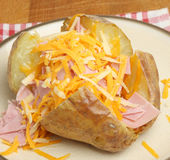 Jacket Potato with Cheese & Ham Royalty Free Stock Photo