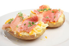 Jacket Potato with Ham and Cheese Royalty Free Stock Photo