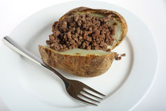 Jacket potato and minced beef Royalty Free Stock Image