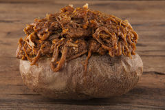 Jacket of potato with pulled pork Stock Photos