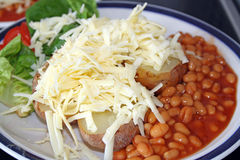 Jacket potatoe and salad Royalty Free Stock Images