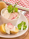 Jacket potatoes with spring curd Royalty Free Stock Photography