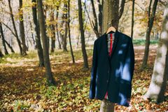 Jacket on the rack in the woods Stock Photo