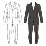 Jacket & skinny jeans. Man's suit (jacket & skinny jeans) outlined template front view, vector illustration isolated on white background Royalty Free Stock Photo