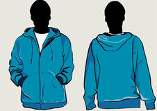 Jacket template. Man in hooded Jacket with zipper in front and back stock illustration