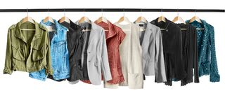 Jackets on clothes racks Royalty Free Stock Image