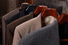 Jackets on the Coat hanger. Wardrobe Royalty Free Stock Photos