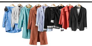 Jackets and coats isolated Stock Images