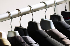 Jackets on hangers Stock Photography