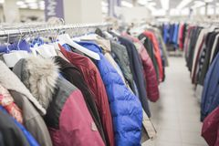 Jackets in the store. Men`s jackets in the store Royalty Free Stock Image